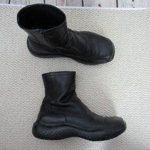 Prada Boots Womens Size 38 Black Leather Side Zip